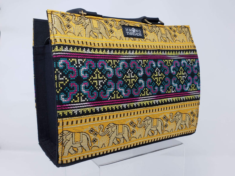 Hmong Elephant Edges with Embroidery Handbag - Yellow/Gold - HMONG THREADS