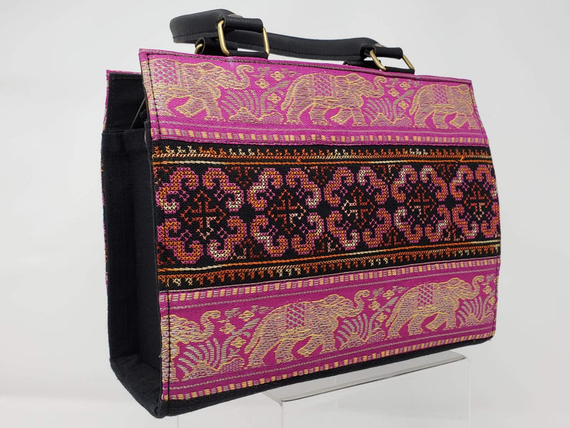 Hmong Elephant Edges with Embroidery Handbag - Fushcia/Gold - HMONG THREADS
