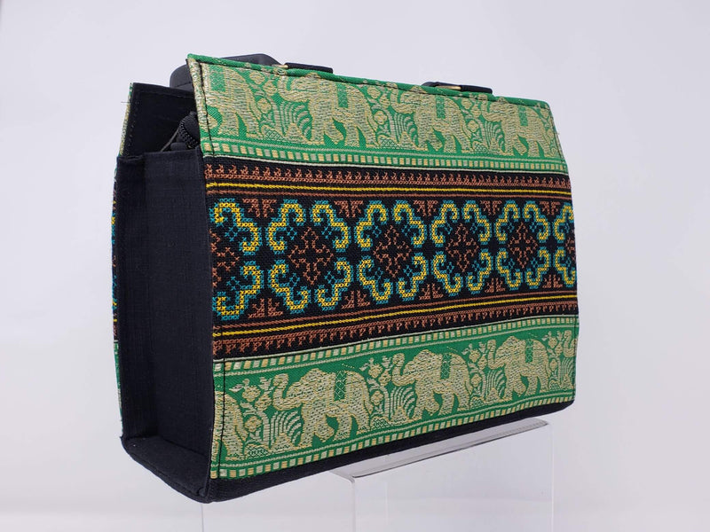 Hmong Elephant Edges with Embroidery Handbag - Emerald/Gold - HMONG THREADS