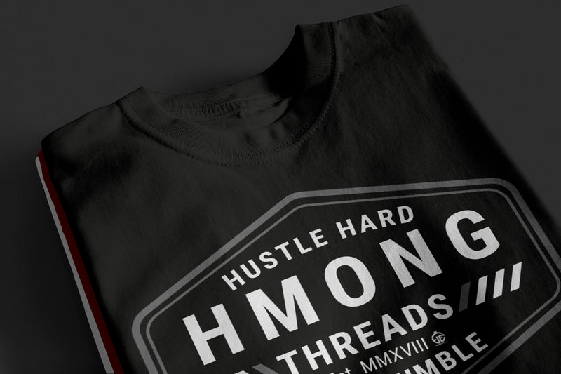 Hustle Hard, Stay Humble - Burgundy Color T-Shirt - HMONG THREADS