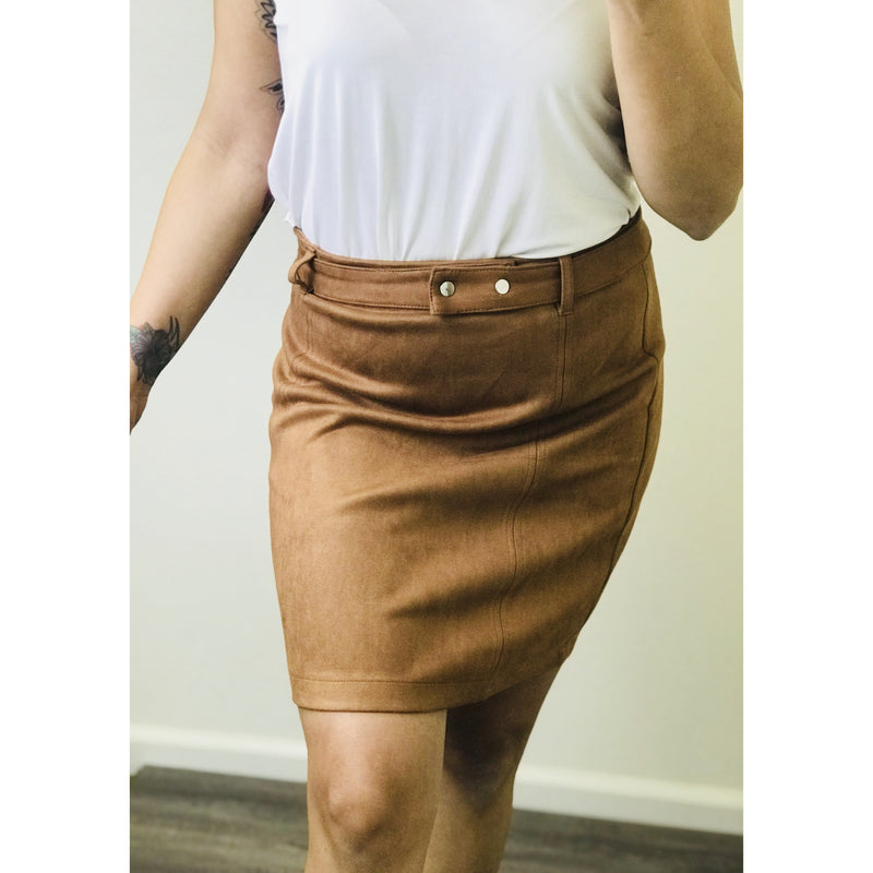 rendy faux suede mini skirt is a perfect to pair with just about any top.