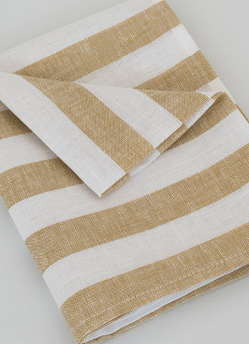 Honey/White Striped Linen Tea Towel - Glow + Gifts