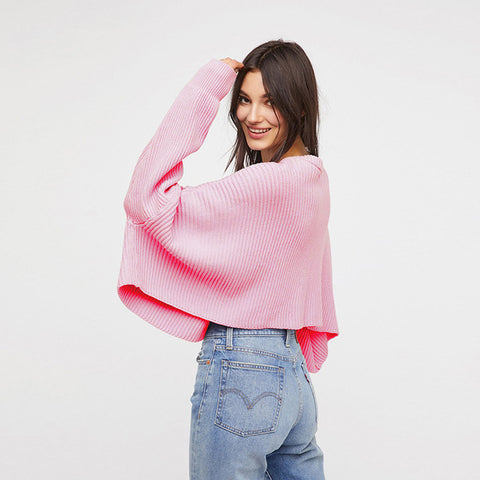 Loose Batwing Knit  (yellow/pink or white)