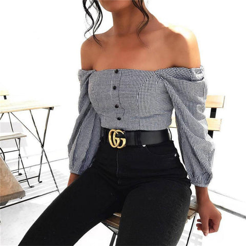 Gingham Off-the-Shoulder Crop Top