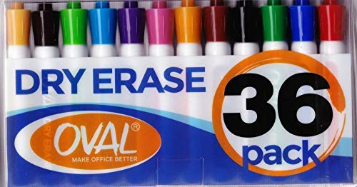 Oval Dry Erase Markers (BULK SET OF 36!) in Assorted Colors - Usable on any Whiteboard Surface - Fine Point White Board Pens in 12 Different Colors - Including Black, Neon, Red, Green, Blue, More