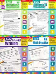 Evan Moor Daily Grade 2 ( 4 book set :6-Trait Writing, Academic Vocabulary,MATH , Reading )