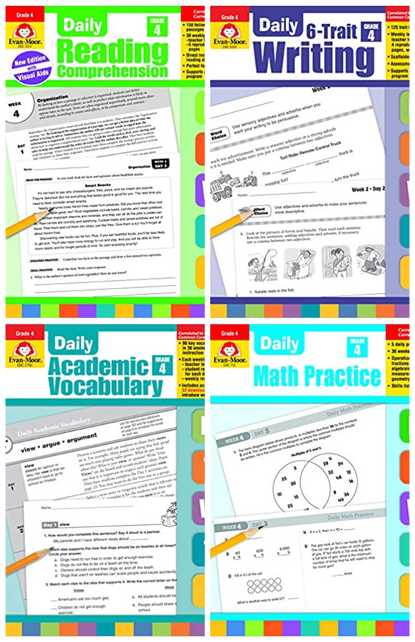 Evan Moor Daily Grade4 ( 4 book set :6-Trait Writing, Academic Vocabulary,MATH , Reading )