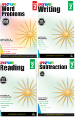 Spectrum Grade 2 Reading+Writing+Subtraction+Word Problems Workbooks (4 book set)