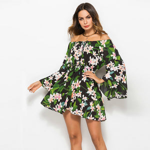 Sunflower Flare Sleeve  Dress