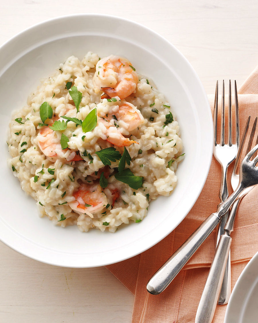 Creamy risotto with marinated shrimps