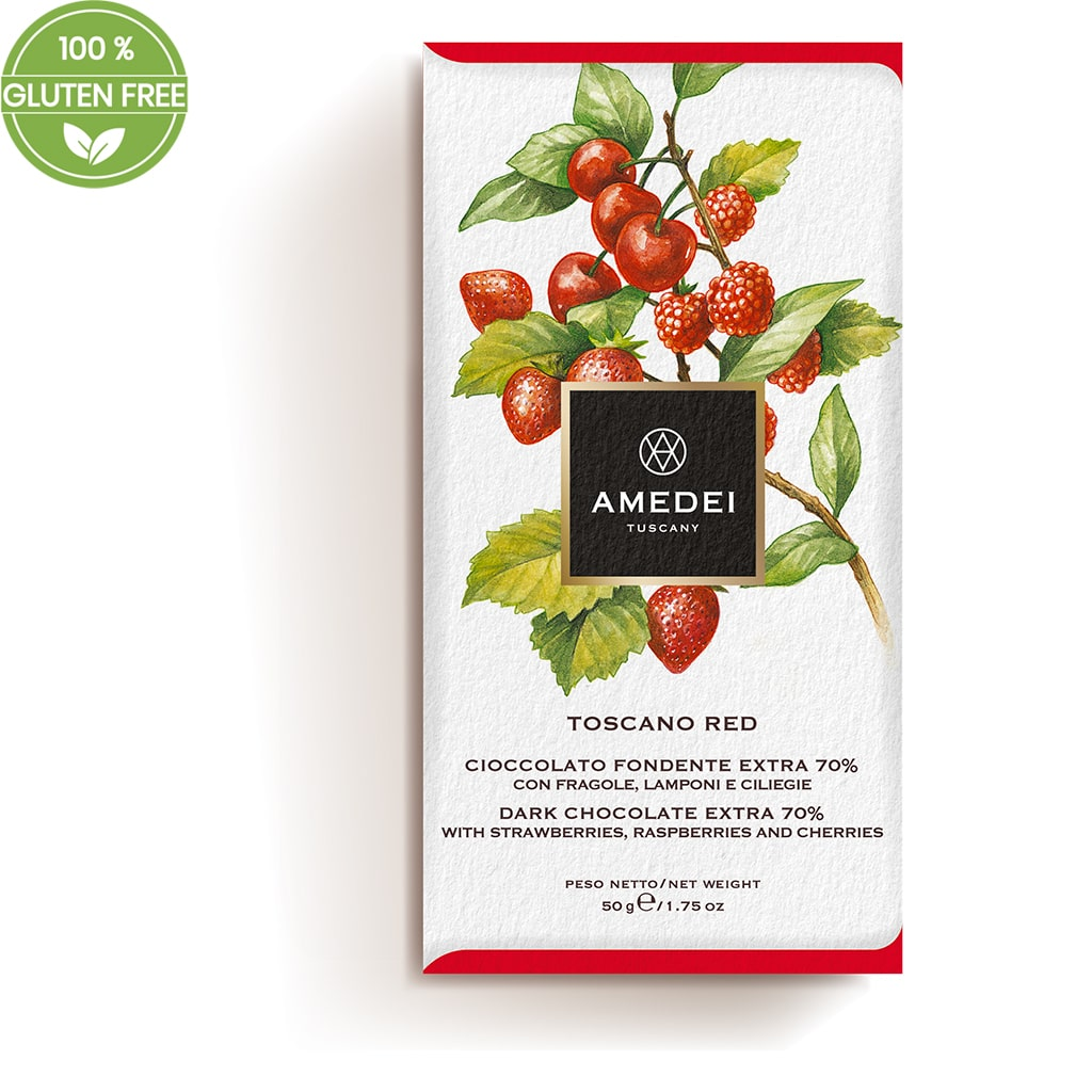 "Extra Dark chocolate 70% with strawberries, raspberries and cherries ""Toscano Red"" 50g - ilikeitalianfood"
