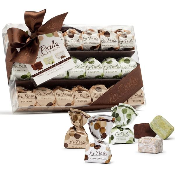 Dark chocolate, Pistachio, Stracciatella assorted miniature chocolate truffles 150g - ilikeitalianfood