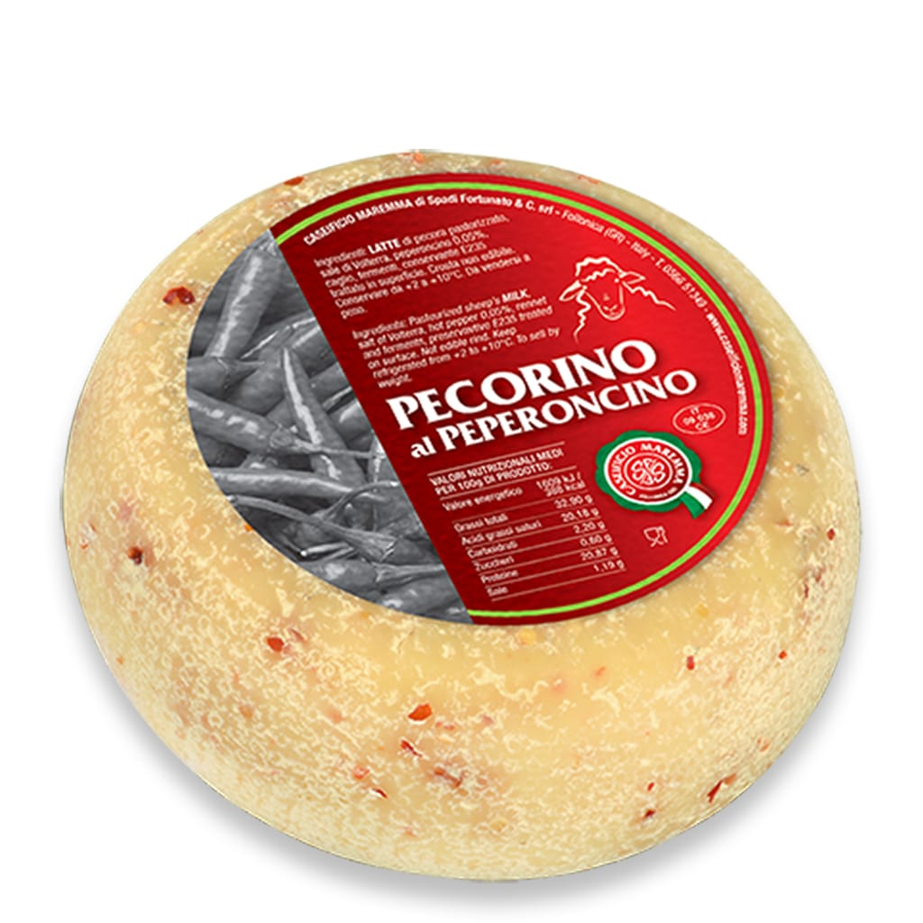 Italian pecorino cheese with chili pepper from Tuscany Caseificio Maremma