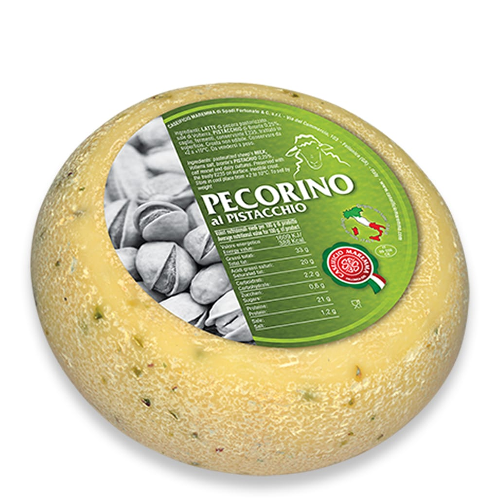 Italian pecorino cheese with pistachio from Tuscany Caseificio Maremma