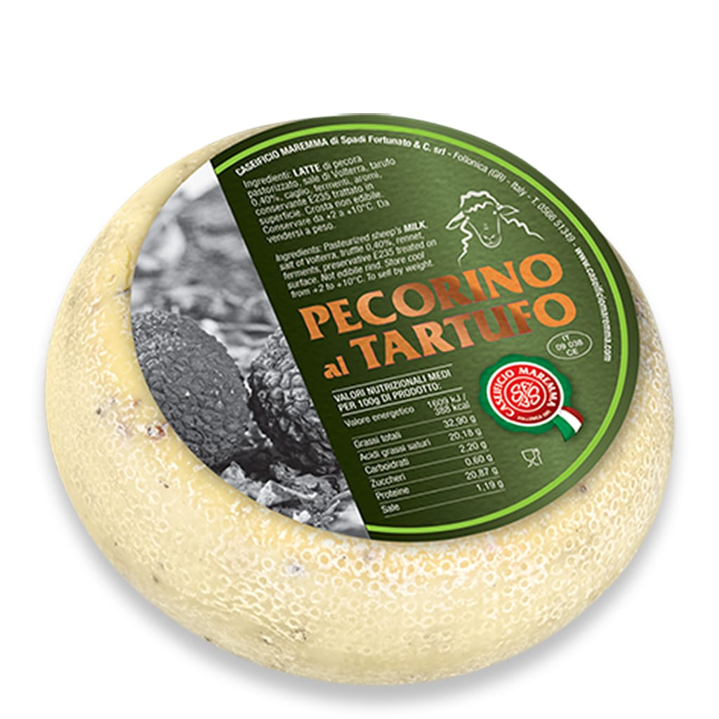 Italian pecorino cheese with truffle from Tuscany Caseificio Maremma