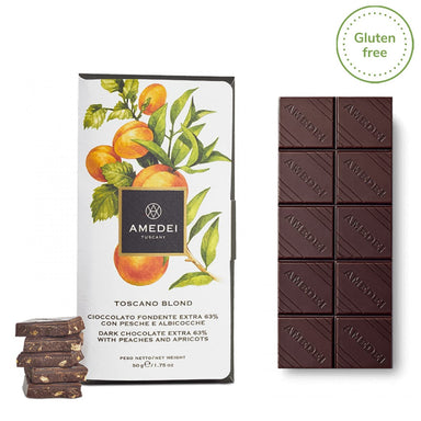 "Extra Dark chocolate with peaches and apricots ""Toscano Blond"" - ilikeitalianfood"