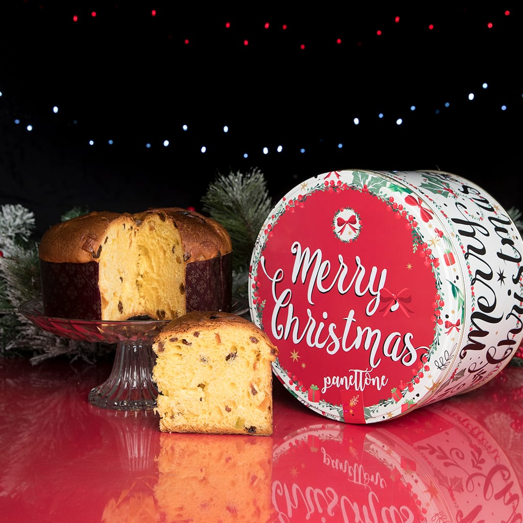 Traditional Panettone Merry Christmas Gift Tin - ilikeitalianfood