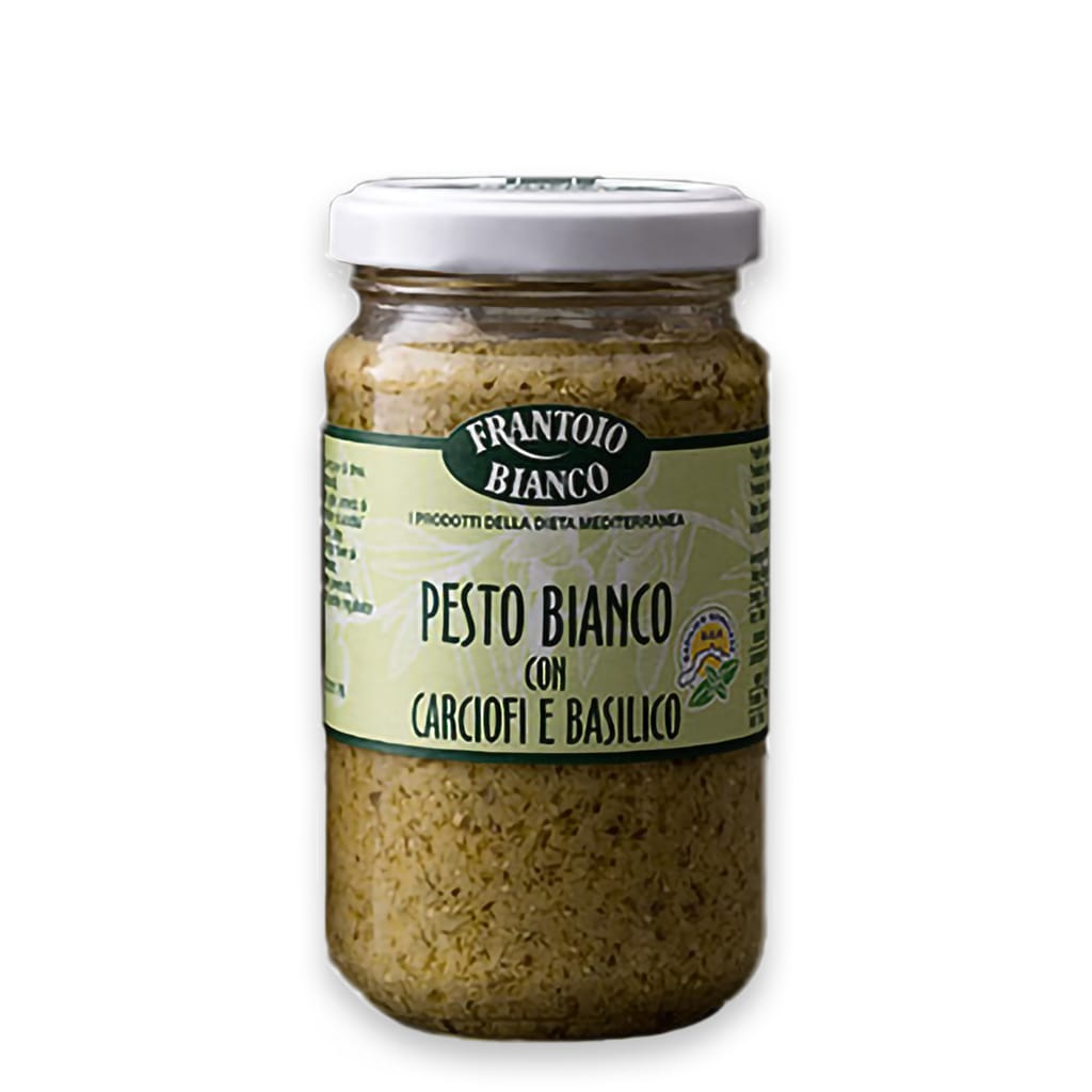 Italian white pesto with artichokes and basil pdo Frantoio Bianco