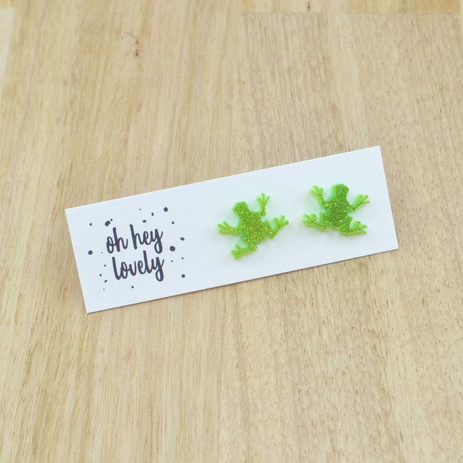 'Green Tree Frog' Mini Stud Earrings