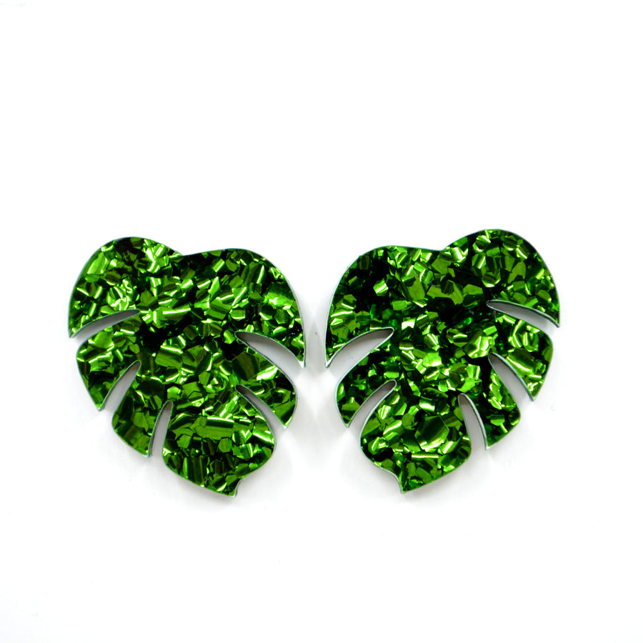 'Monstera Leaf' Statement Stud Earrings