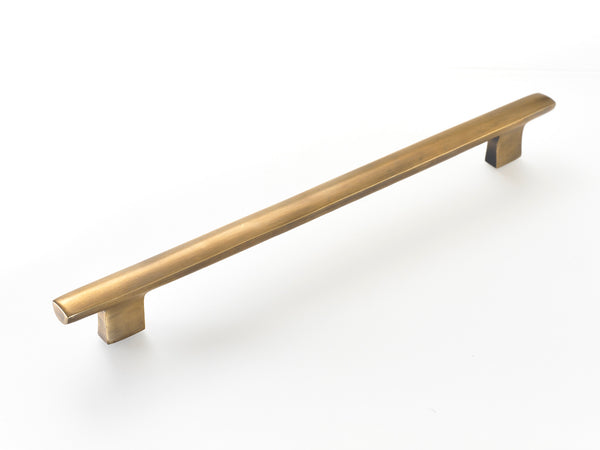 "Brass handles. Kitchen drawer and cupboard handles . 12"" long in antiqued patina."