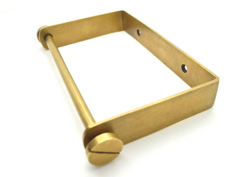 Industrials style toilet roll holder. Solid Brass by The Foundryman