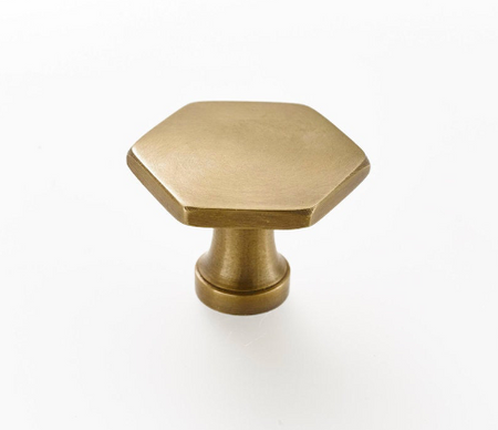 Brass kitchen drawer pulls. Pretty art deco styled pulls and cabinet knobs. Solid and supplied with fitting screws.