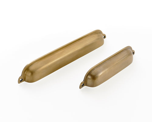 "brass drawer cup handles. Solid brass supplied with fitting screws. 2 sizes from 6.5"" to 9 "" Shipped worldwide."