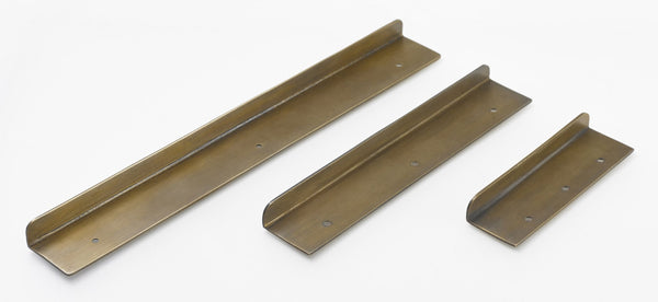 Brass L kitchen handles. 3 sizes. Mix and match with any other style - 1 colour finish for all hardware