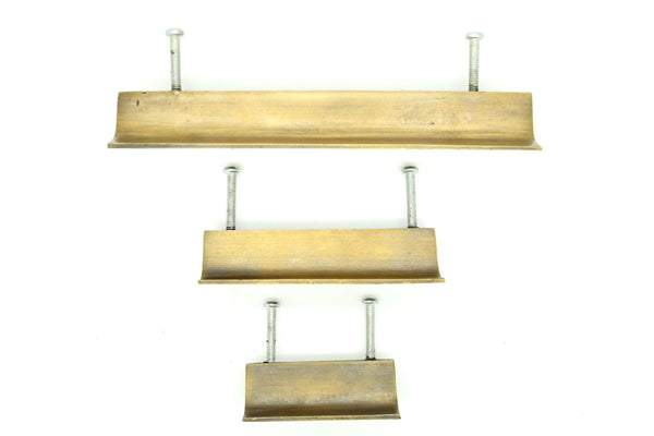 brass art deco drawer handles. Extra large and very heavyweight . Perfect for kitchen makeover. 4 sizes available .