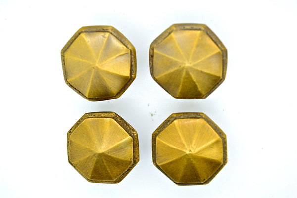 Brass drawer knobs and pulls. Hexagonal brass design.1.2' x 1' size. Supplied with fitting screw, many styles and sizes available
