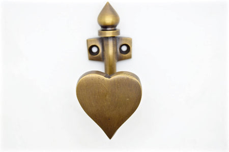 Brass wall and door hooks. Love heart design 2 finishes. Solid brass and supplied with fitting screws.