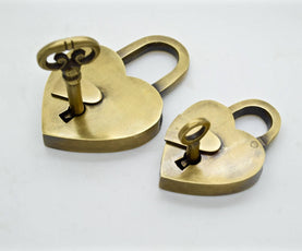 Brass love heart padlock. Available in 2 sizes. The perfect wedding gift! by The Foundryman