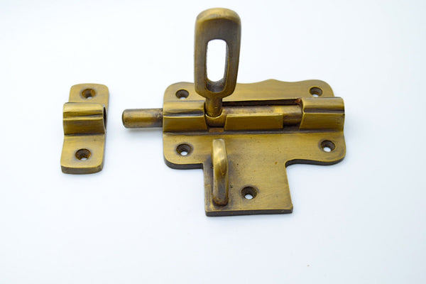Vintage door lock . Antique brass lock. Old brass lock. Brass padlock. Gate door lock. Slide brass lock.Cupboard door lock.Garden gate catch