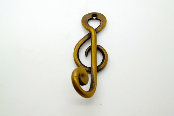 Brass door and wall hooks . Musical design . Supplied with fitting screw, great gifts for musicians