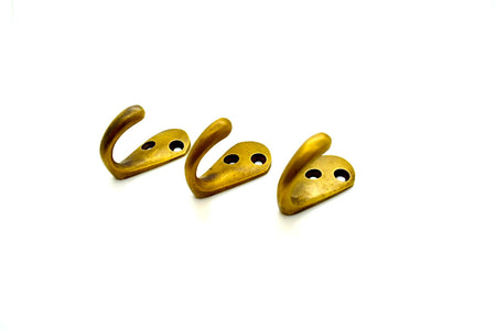 Brass wall and door hooks. classical double hook version. Great for kids rooms, boot room projects and coat racks and rails .