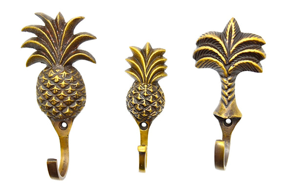 Pineapple wall hooks. Tropical decor brass door hooks