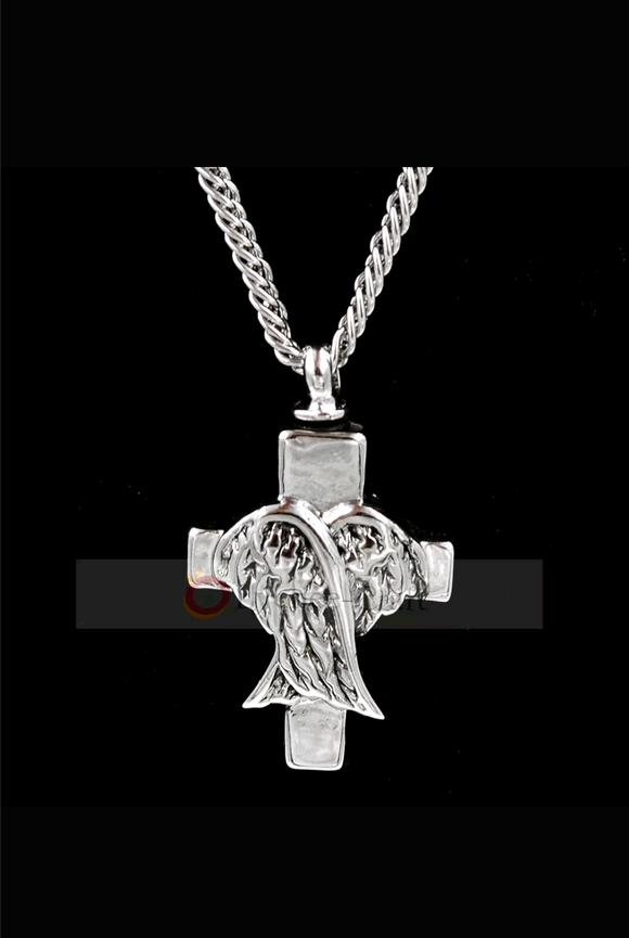 Urn winged heart cross pendant
