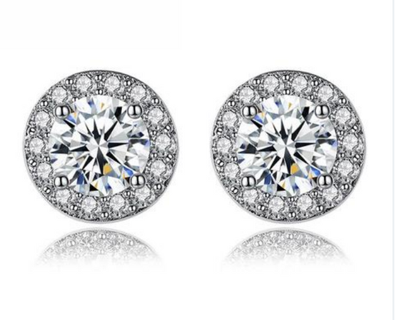 Simple Silver Color Round Shape Stud Earrings with AAA Zircon for Women Anniversary Fashion Jewelry YIE092