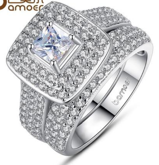 Bridal White Gold Color Ring Set 2 pcs Square Stone Crystal Finger Ring for Women Pave AAA Zircon Stone Jewelry Gift YIR063
