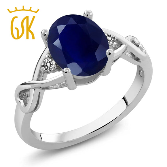 GemStoneKing 2.56 Ct Oval Natural Blue Sapphire White Diamond Women's Ring Vintage 925 Sterling Silver Wedding Band Ring