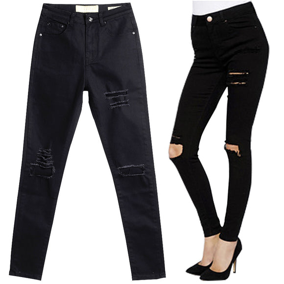 Skinny Women Jeans High Waist Pencil Pants Slim Ripped Black Jeans Trousers