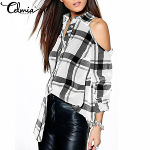 Celmia 2017 Sexy Plaid Off Shoulder Women Blouse Shirts Spring Lapel Long Sleeve Checks Tops Tees Casual Plus Size Blusas