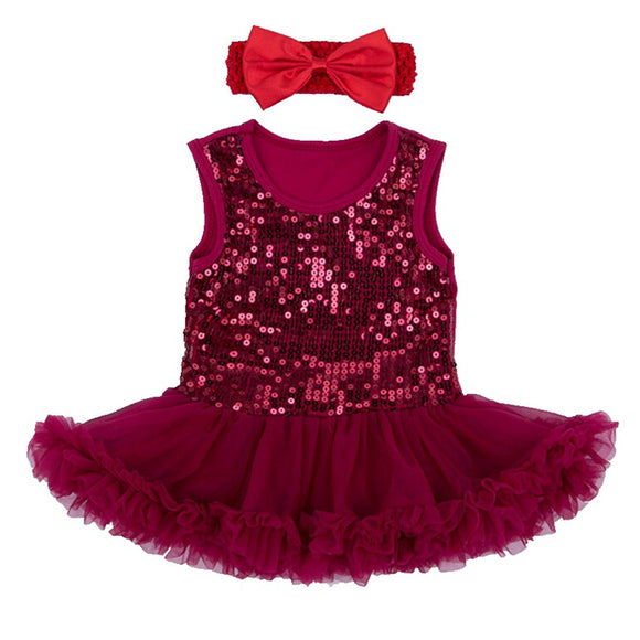Brilliant Sequins Burgundy Lace Petti Romper Dress + Headband Newborn Tutu Sets Baby Girl Summer Clothes Toddler Girl Clothing