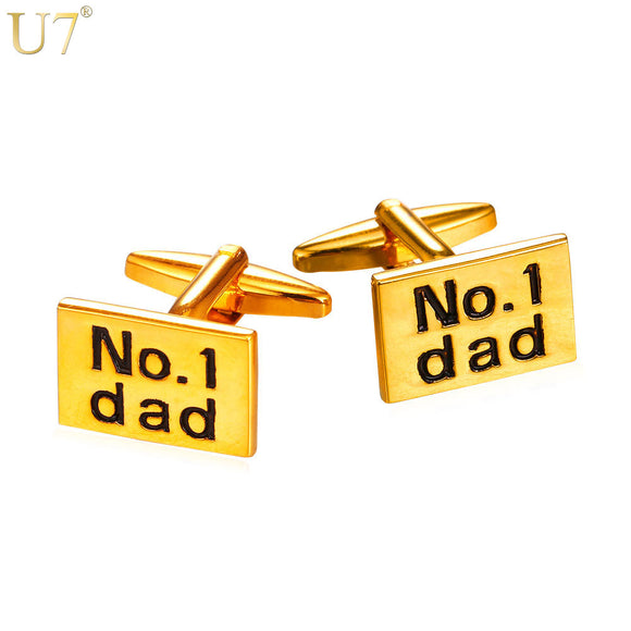 U7 New Trendy Cufflinks For Mens Name Jewelry Gold/Silver Color No.1 Dad Letter Cuff Buttons Box For Fathers Gift C007