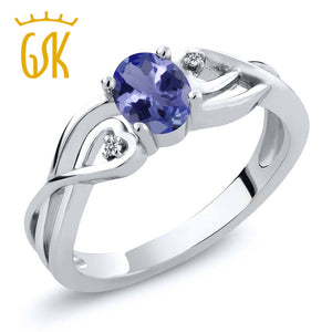 GemStoneKing 0.46 Ct Oval Natural Blue Tanzanite White Diamond Engagement Wedding Ring 925 Sterling Silver Women's Fine Jewelry