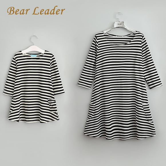 Family Matching Outfits Mother And Daughter Fall Full Black Striped Dress Free Shipping