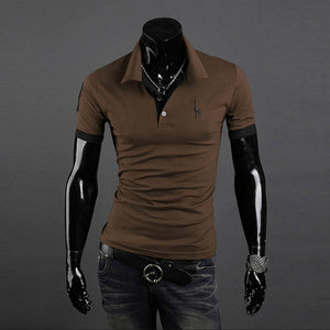Men Casual T-Shirts Tops Tee V Neck Slim Fit Short Sleeve T-shirt
