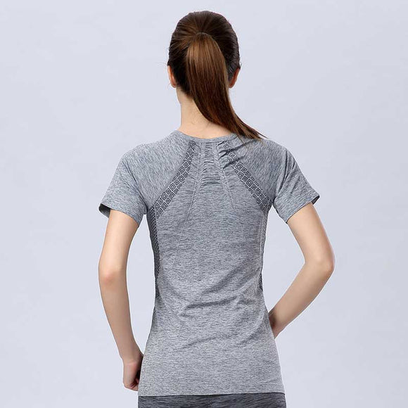 New Women QUICK-DRY Tee For Sporting Summer Shirts Brand Top Exercise Runs Yogaing Clothing T-Shirt Workout Vest Fitness Gymming