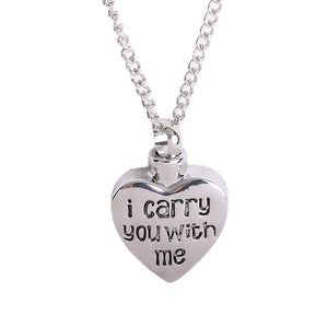2017 Fashion Letter I carry you with me Heart-shape Cremation Jewelry Ashes Urn Pendant Necklace For Keepsake  Funeral